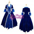 Blue Medieval Victorian Dress Costume Gothic Dress Ball Gown velvet