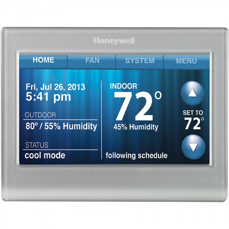 Honeywell Smart Thermostat, Wi-Fi, Touchscreen, Works with Amazon Alexa - Silver