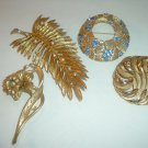 4 Vintage Goldtone Pins Trifari Judy Lee Mamselle Free US Shipping