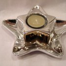 NIB Shinny Star Tea Light Holder and Tray 6-1/2""