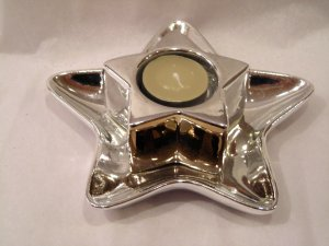 "NIB Shinny Star Tea Light Holder and Tray 6-1/2"""