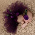 Newborn Purple Fluffy Tutu & Headband Photography Set
