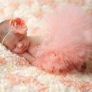 Newborn Orange Fluffy Tutu & Headband Photography Set