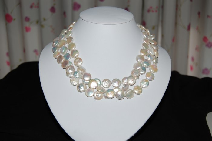 Triple Strand White Coin Pearl