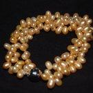 Triple Strand Zig Zag Gold Pearl Bracelet