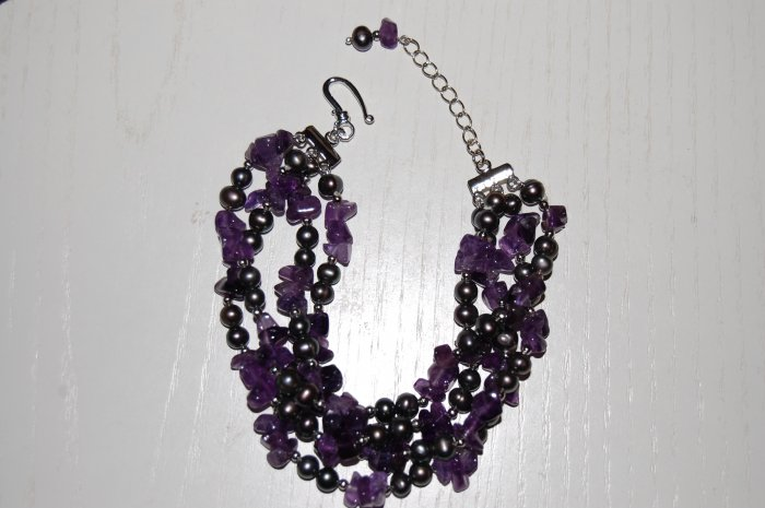 4 strand Peacock pearl w/ Amethyst Bracelet B1123