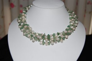 4 strand pearl w/ Jade Necklace N1122
