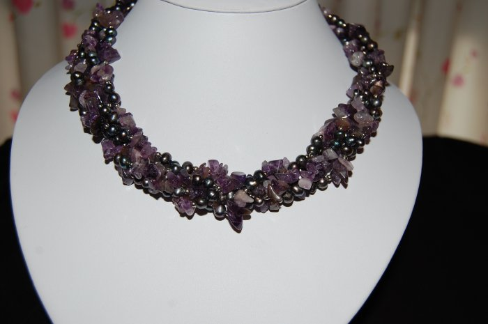4 strand Peacock pearl w/ Amethyst Necklace N1123