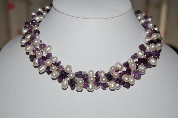 4 strand pearl w/ Amethyst Necklace N1124