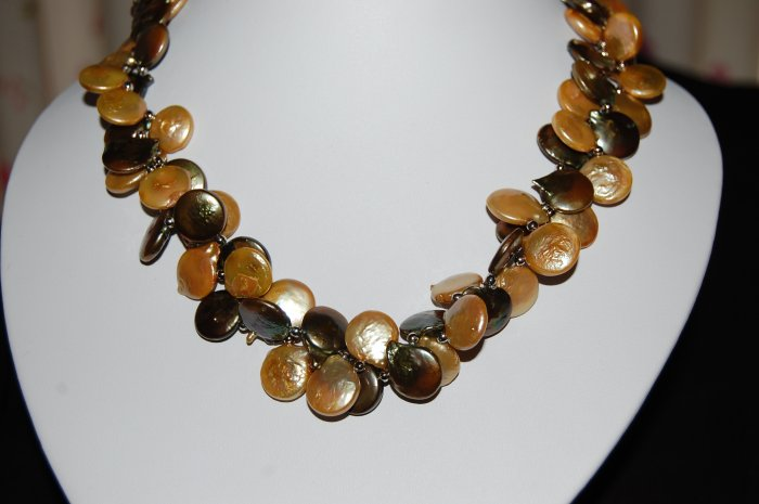 Double Strand Coin Pearl Necklace N1126