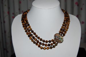 Triple Strand Tigers Eye Necklace N1083