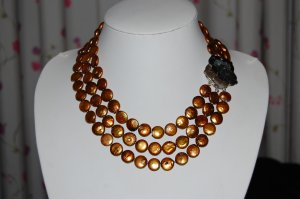 Bronze Graduated Coin Pearl Necklace N1019