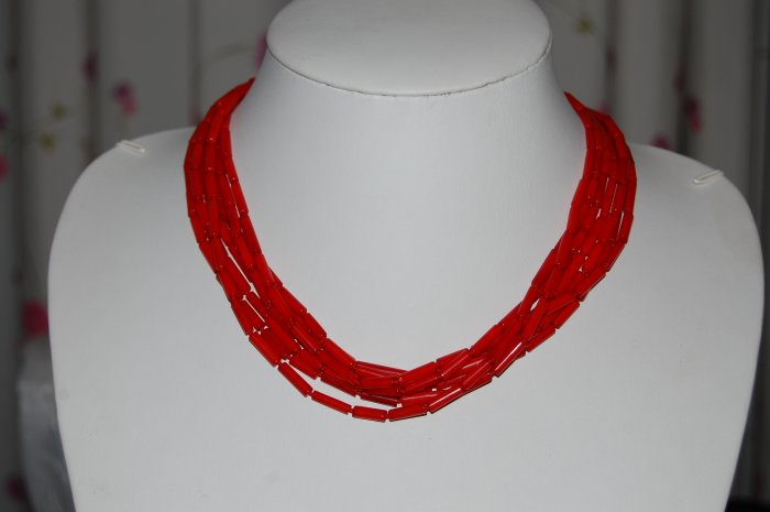 7 Strand Coral Necklace N1164