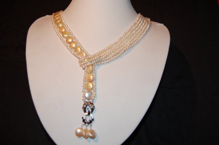 Lariat White pearl Necklace N1162