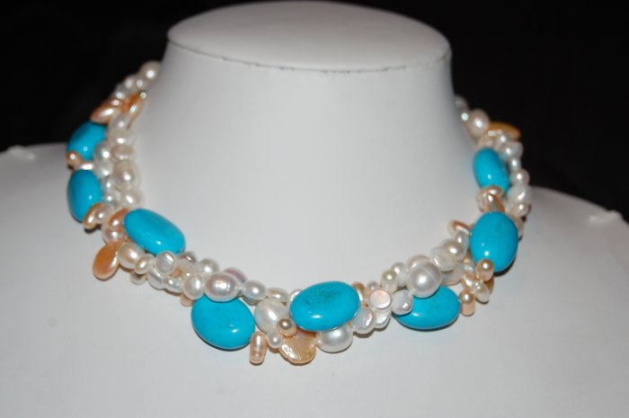 White pearls Turquoise and Pink Coin N1176