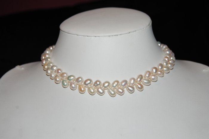 Single Strand Zig Zag Pearl White N1076