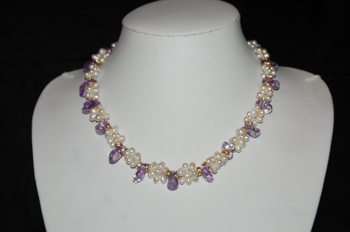 Single Strand Pearls with Purple Stones N1090