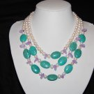 3 strand round pearls with purple stone and turquoise N1108