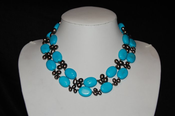 Double Strand Peacock Pearl with Turquoise  N1109