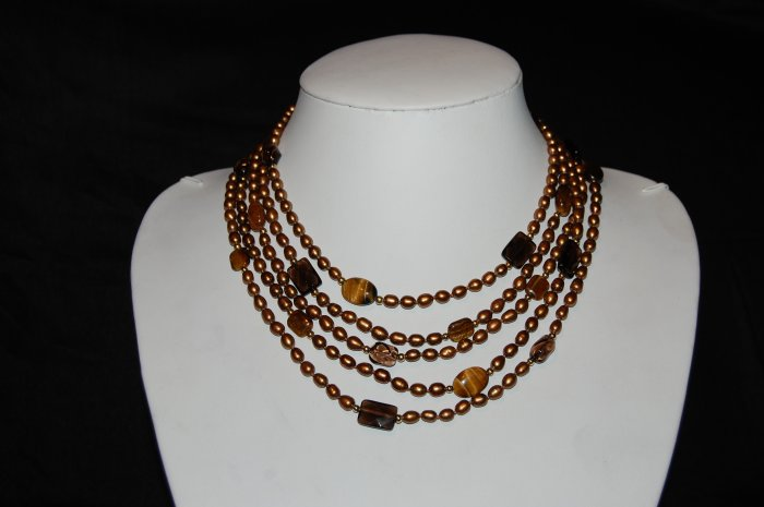 5 Strand Pearls with Tiger Eye N1163