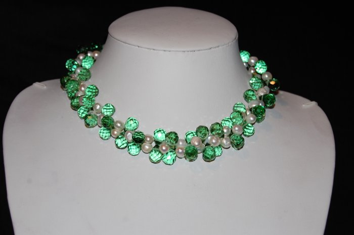 Double Strand White Pearls with Green Crystals N2002