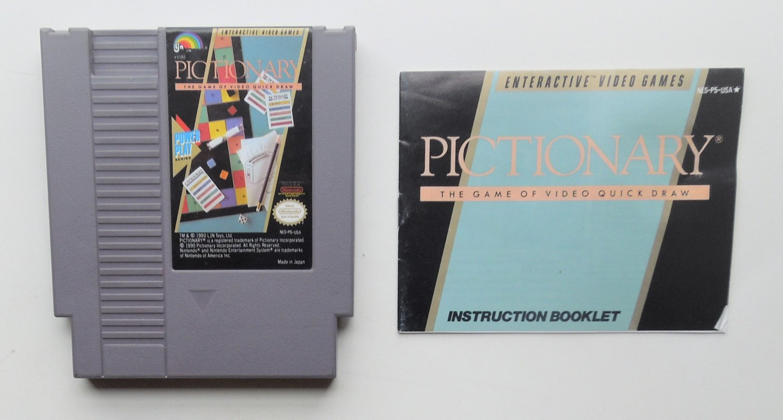 1990 LJN Pictionary For Classic NES Nintendo Entertainment System W/Manual