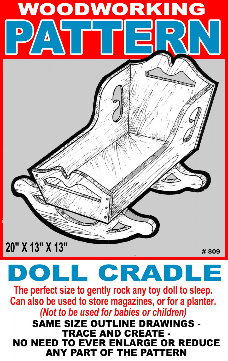 """Dolly Cradle #809 - Woodworking / Craft Pattern 20"""" x 13"""" x 13"""""""