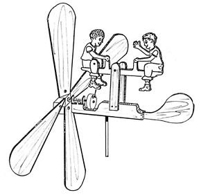 See Saw Twins Whirligig #608 - Woodworking / Craft Pattern