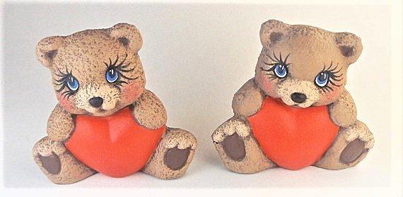 Hand Painted Ceramic Heart Belly Teddy Bears