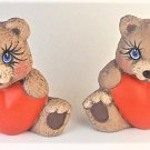 Hand Painted Ceramic Heart Belly Teddy Bears