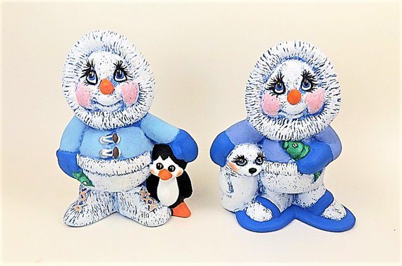 Hand Painted Ceramic Snowman Figurines