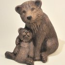 Hand Painted Ceramic Brown Bear with Cub Figurine