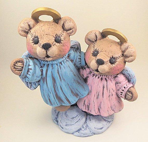 Hand Painted Ceramic Angel Teddy Bears
