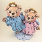 Hand Painted Ceramic Angel Teddy Bears