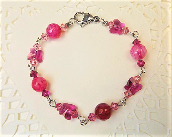 Pink Agate and Crystal Butterfly Bracelet