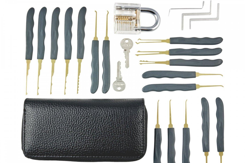 GOSO 24 Piece Lock Pick Set Transparent Practice Padlock Bundle