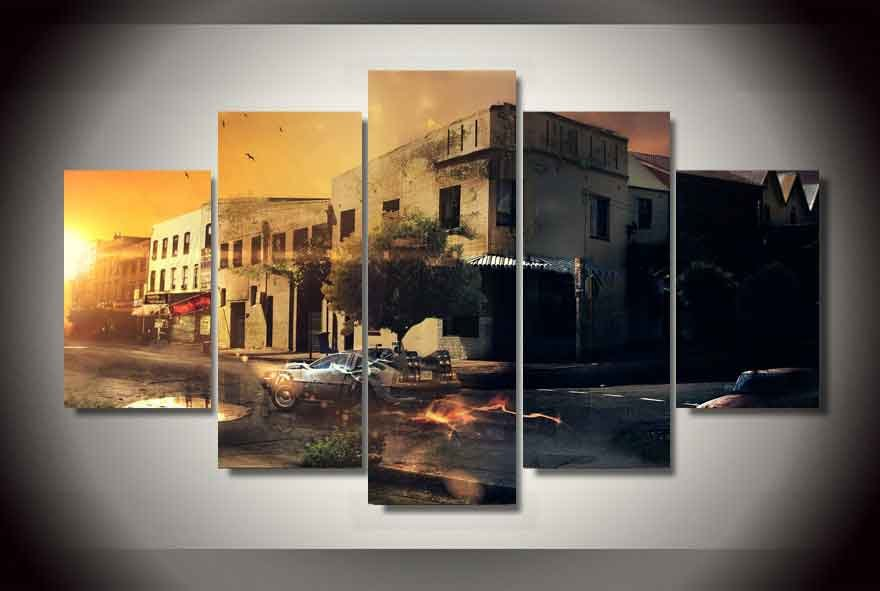 DeLorean Time Machine Back to the Future 5 pcs Unframed Canvas Print - Large Size