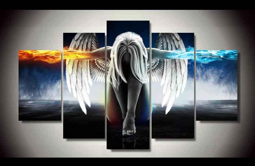 Fire & Ice Angel 5 pcs Framed Canvas Print - Medium Size