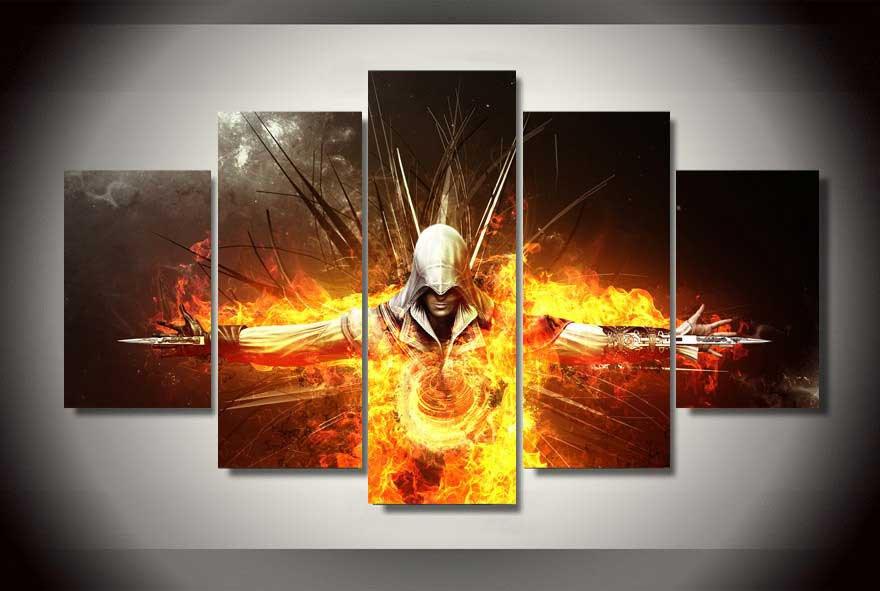 Assassin's Creed #05 5 pcs Framed Canvas Print - Medium Size