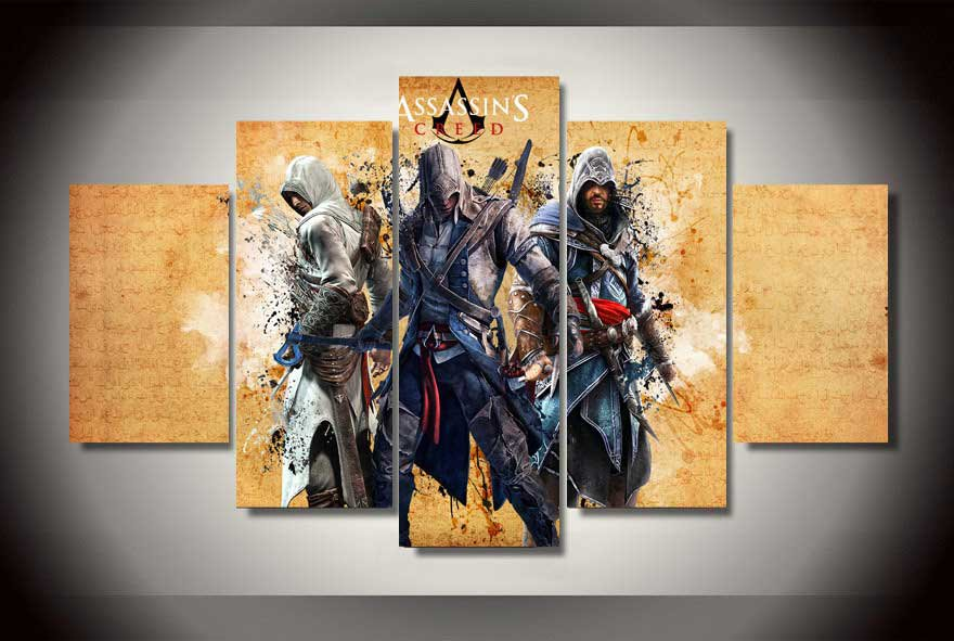 Assassin's Creed #06 5 pcs Framed Canvas Print - Large Size
