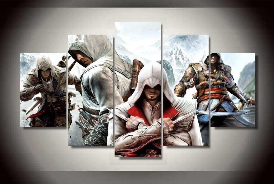 Assassin's Creed #07 5 pcs Framed Canvas Print - Medium Size