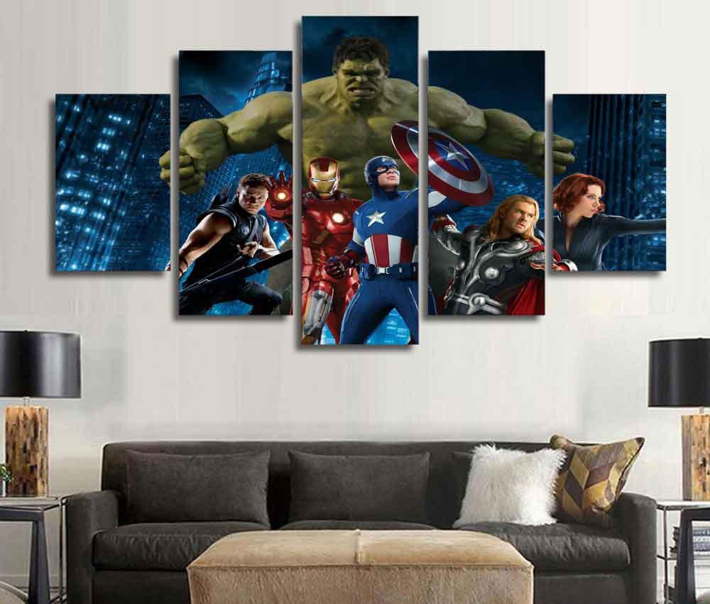 Marvel Avengers Superhero #01 5 pcs Framed Canvas Print - Medium Size