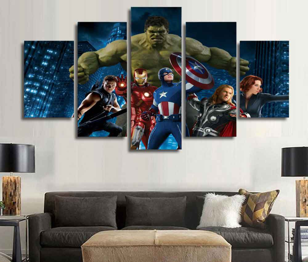 Marvel Avengers Superhero #01 5 pcs Framed Canvas Print - Large Size