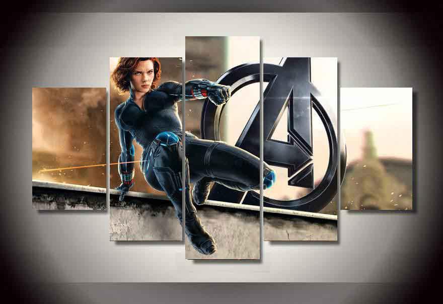 Black Widow Natasha Romanova Marvel Avengers #03 5 pcs Framed Canvas Print - Large Size