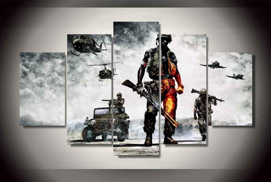 Battlefield #02 5 pcs Framed Canvas Print - Large Size