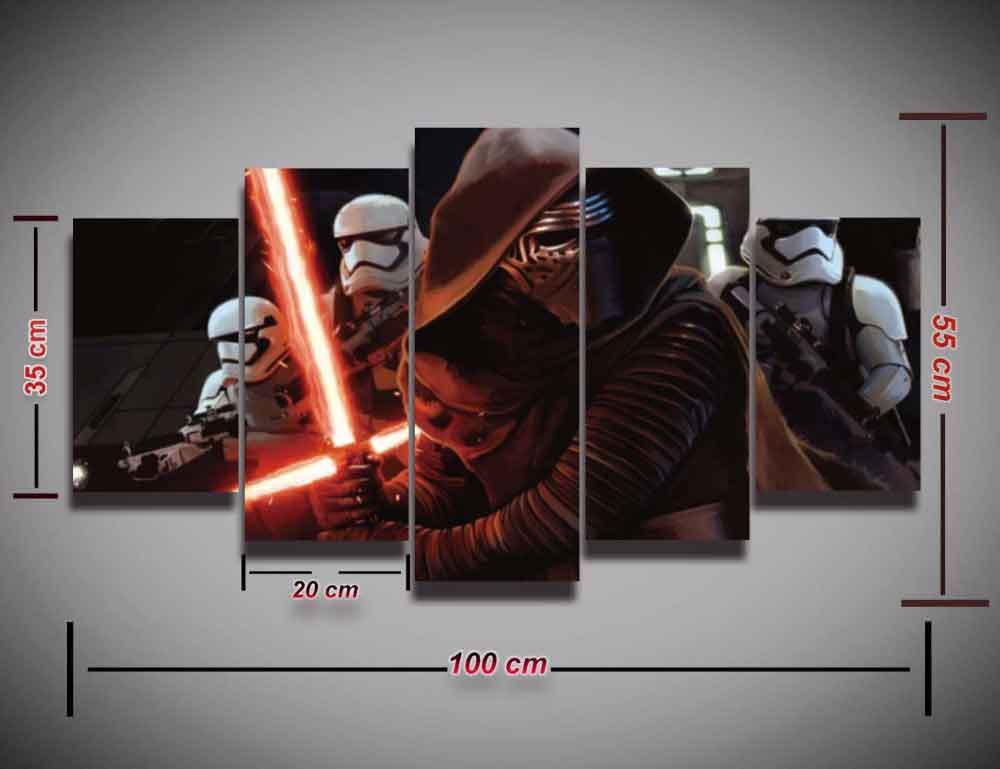 Kylo Ren Star Wars #05 5 pcs Framed Canvas Print - Medium Size