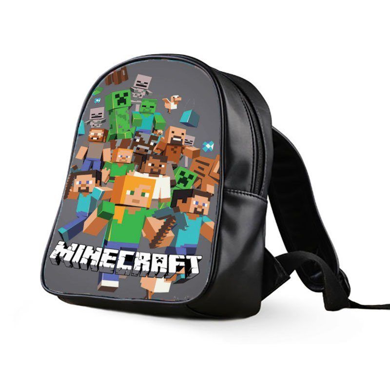 #25 Minecraft Creeper Kids Multi-Pocket School Bag Backpack
