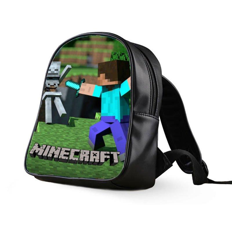 #29 Minecraft Creeper Kids Multi-Pocket School Bag Backpack