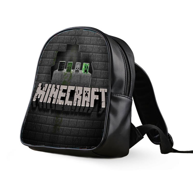 #37 Minecraft Creeper Kids Multi-Pocket School Bag Backpack