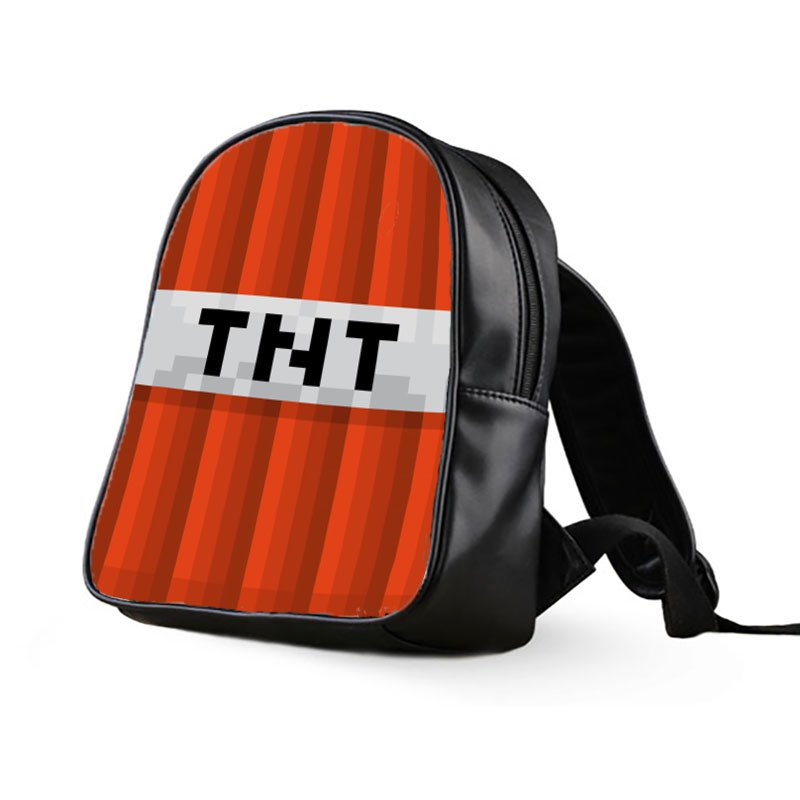 #40 Super TNT Minecraft Creeper Kids Multi-Pocket School Bag Backpack